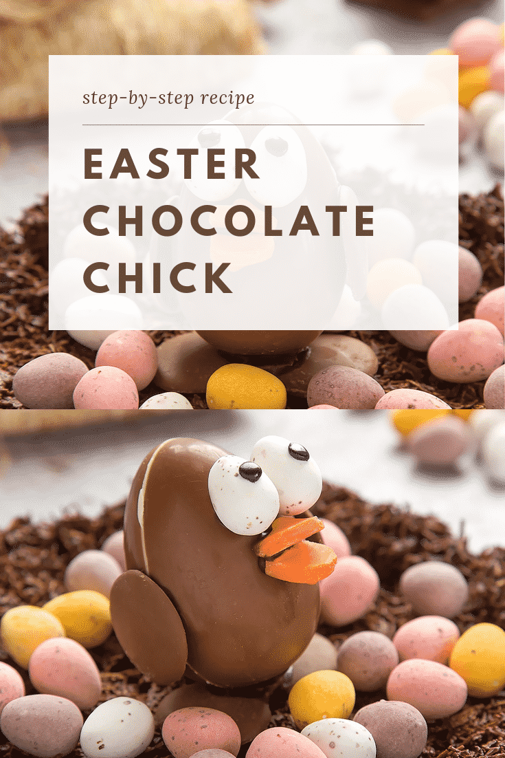 EASTER CHOCOLATE CHICK graphic text above side angle shot easter egg chick chocolate
