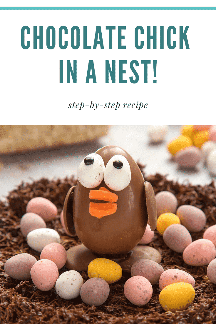 graphic text step-by-step recipe CHOCOLATE CHICK IN A NEST! above two photos of chick chocolate egg