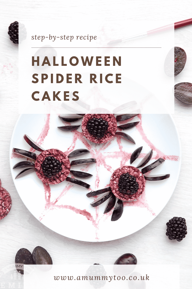 Halloween rice cakes, decorated with blackberries & grapes to look like spiders on a spider's web. Caption reads: Step-by-step recipe. Halloween spider rice cakes.