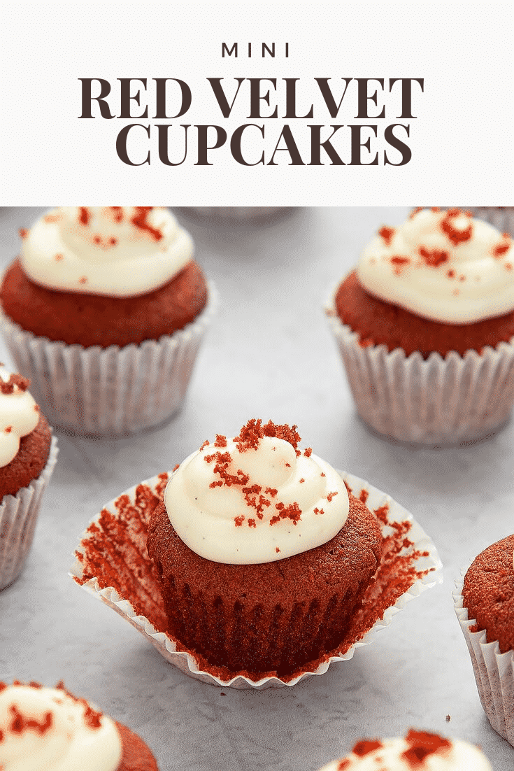 In process image of unwrapping a Mini red velvet cupcakes with cream cheese frosting from the cupcake case. At the top of the image there's some text describing it for Pinterest.