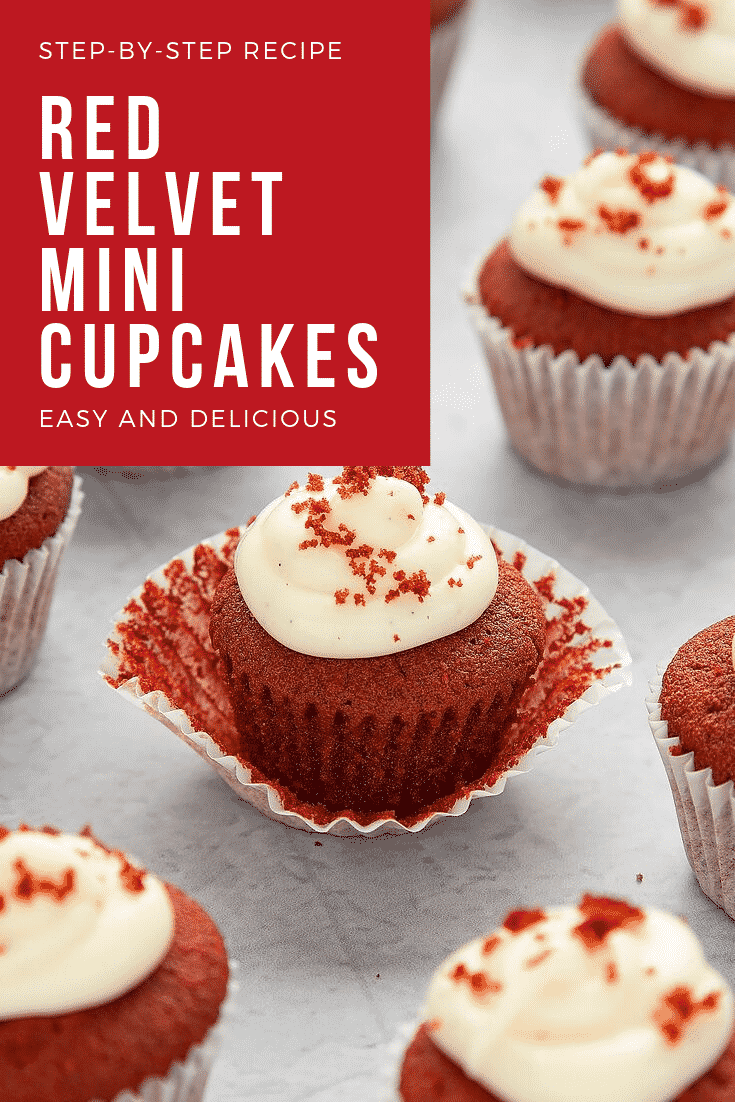 Close up of the Mini red velvet cupcakes with cream cheese frosting. At the top left hand side there's some white text on a red background that describes the image for Pinterest.