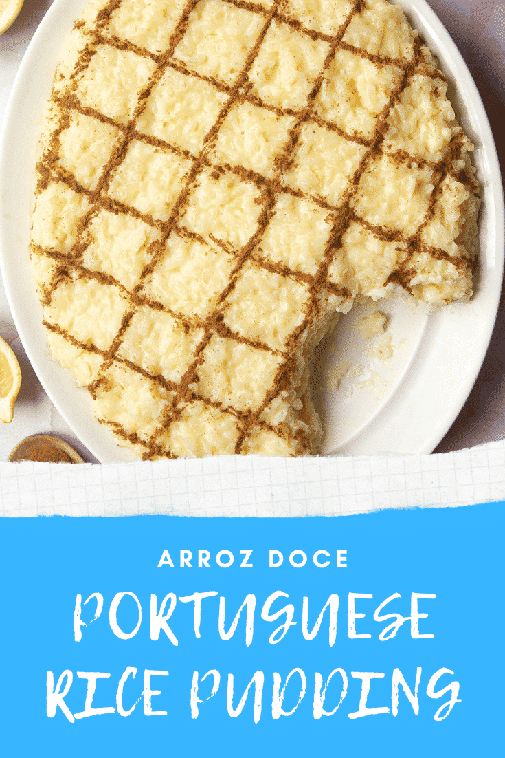 Arroz Doce (Portuguese rice pudding) on a large, white, oval-shaped plate with a scoop taken away. The caption reads: Arroz Doce Portuguese rice pudding.