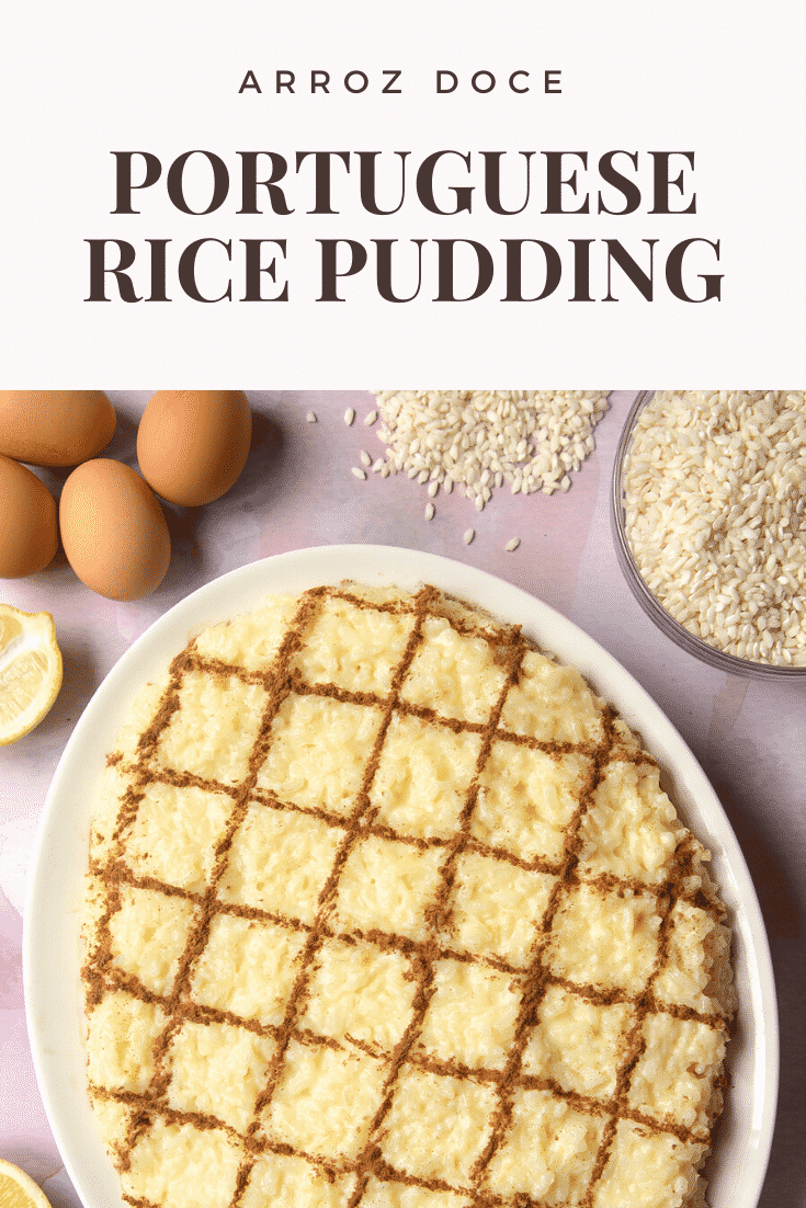Arroz Doce (Portuguese rice pudding) on a large, white, oval-shaped plate. The caption reads: Arroz Doce Portuguese rice pudding.