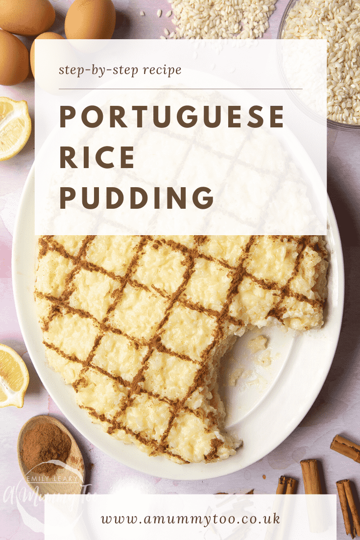 Arroz Doce (Portuguese rice pudding) on a large, white, oval-shaped plate. The caption reads: Step-by-step recipe. Portuguese rice pudding.