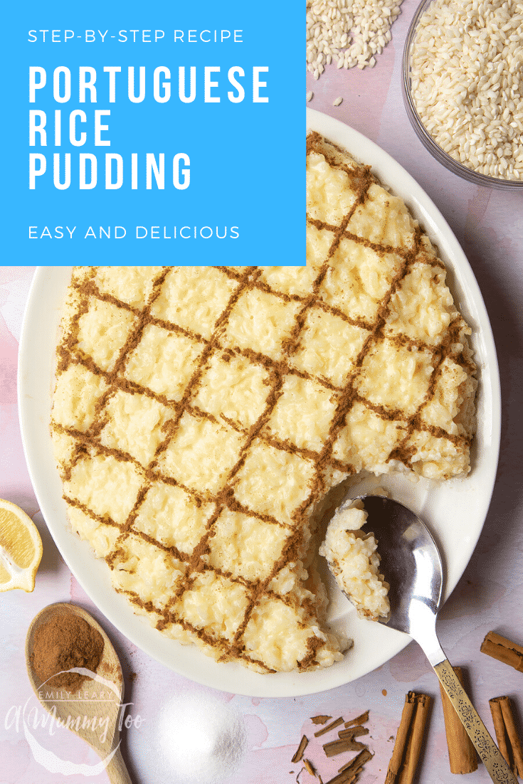 Arroz Doce (Portuguese rice pudding) on a large, white, oval-shaped plate. The caption reads: Step-by-step recipe. Portuguese rice pudding. Easy and delicious.