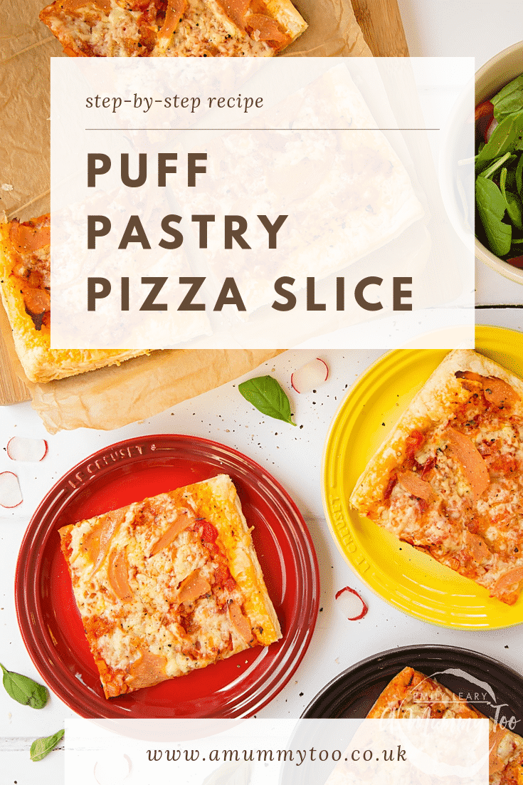 Three slices of puff pastry pizza on plates next to a chopping board with the remaining slices. At the top of the image there's some text describing the image for Pinterest.