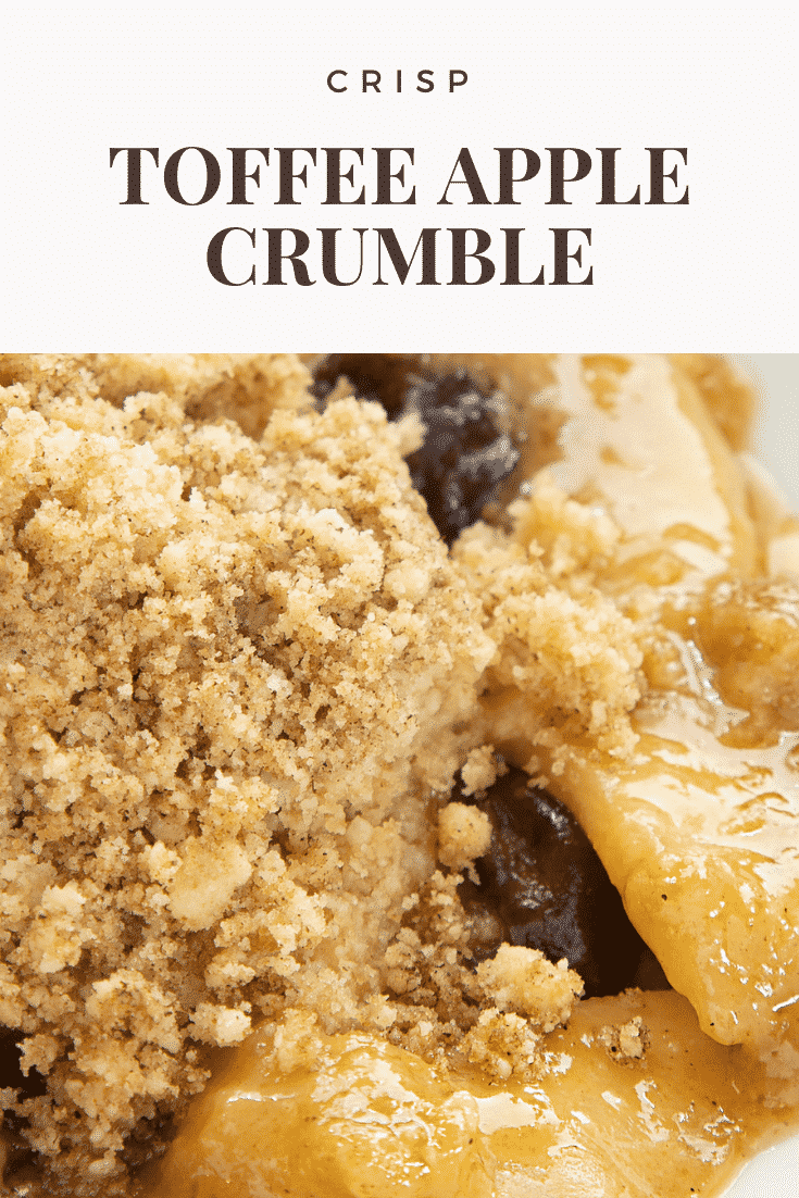Close up shot of the toffee apple crumble with text at the top describing it for Pinterest.