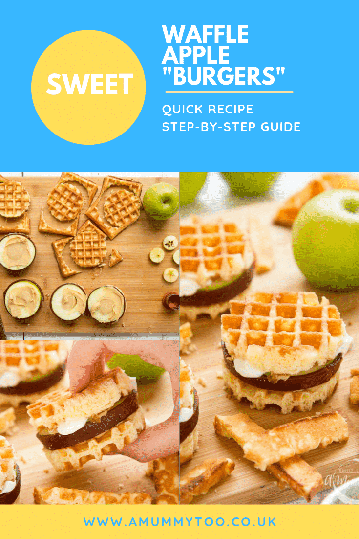 "graphic text SWEET WAFFLE APPLE  ""BURGERS"" QUICK RECIPE STEP BY STEP GUIDE above collage of three photos of  waffle apple burgers with website URL below"