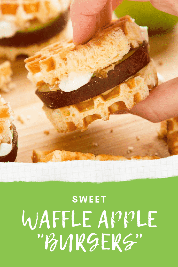 "Zoomed in shot of a hand holding as apple waffle burger above graphic text SWEET WAFFLE APPLE ""BURGERS"""