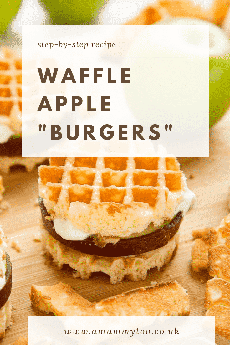 "graphic text step-by-step recipe WAFFLE APPLE ""BURGERS"" above Front angle shot of gluten-free waffle apple burgers with website URL below"
