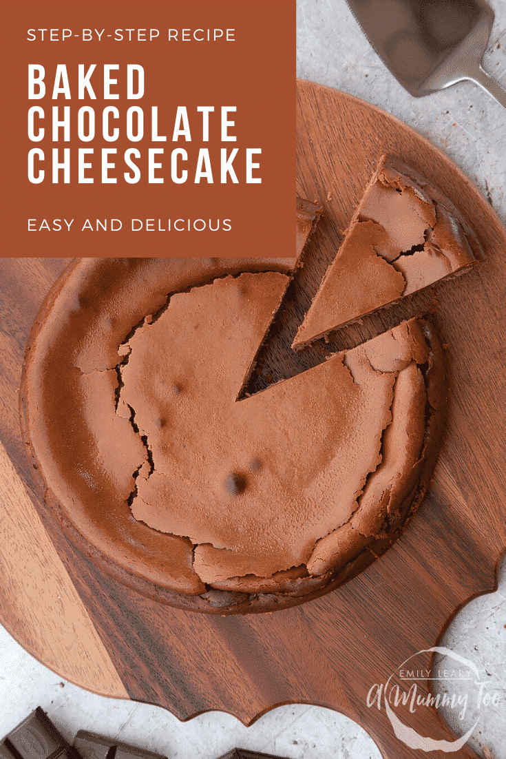 Overhead shot of the finished baked chocolate cheesecake. At the top left hand side theres some text describing the image for Pinterest.