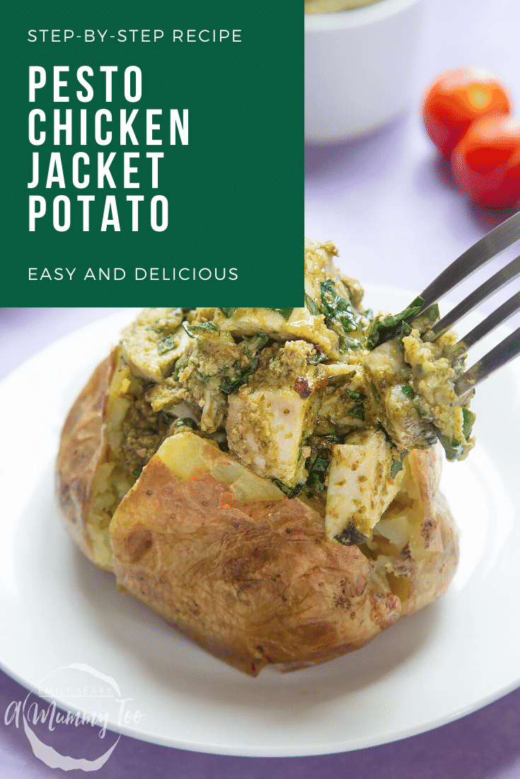 A jacket potato with cheesy pesto chicken on a white plate. A fork delves in. Caption reads: step-by-step recipe pesto chicken jacket potato easy and delicious