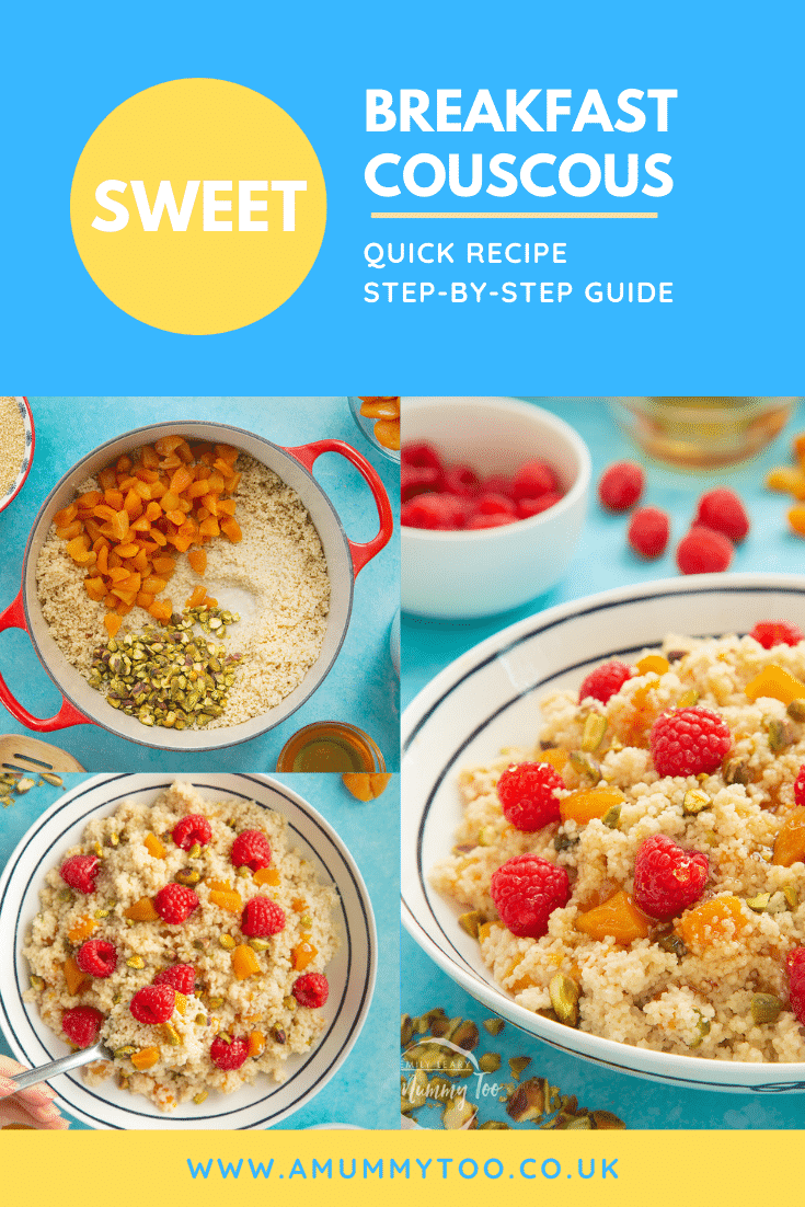 Three process images for the sweet breakfast couscous. At the top of the image there's some white text on a blue background describing the image for Pinterest.