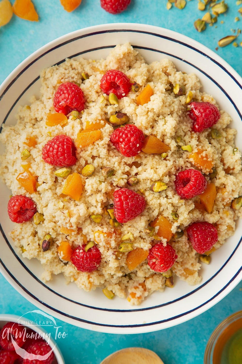 Close up overhead shot of the sweet breakfast couscous.