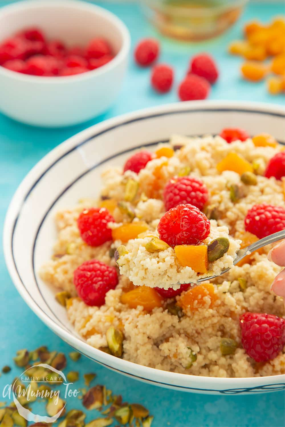 Close up image of the finished bowl of sweet breakfast couscous.