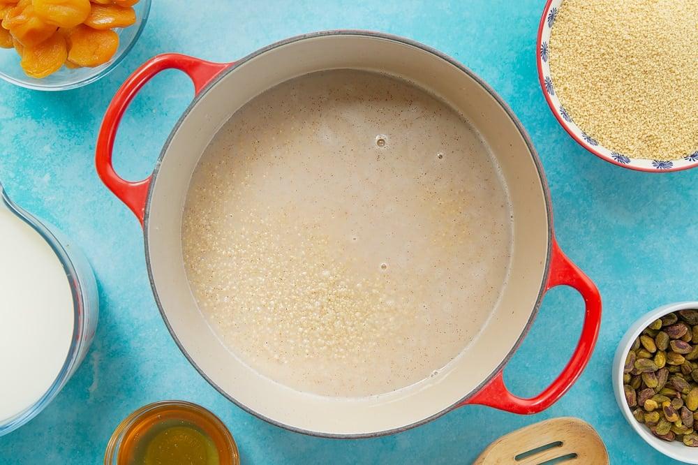 Overheat shot of the sweet breakfast couscous having been cooked in the oven,
