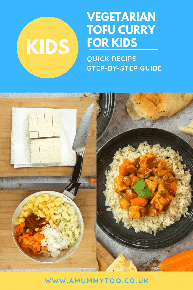 Three process images of the vegetarian tofu curry for kids with some text at the top of the page describing the image for Pinterest.