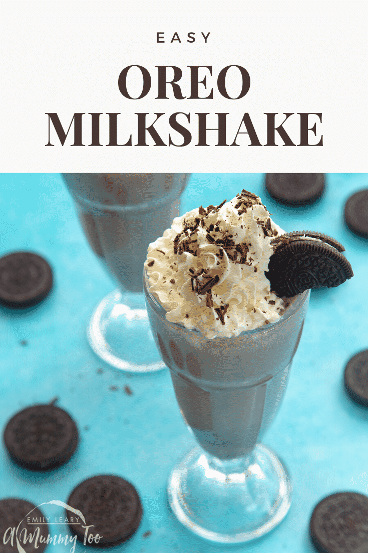 Two oreo milkshakes on a light blue table covered in oreos. At the top of the image there's some text describing the image for Pinterest.