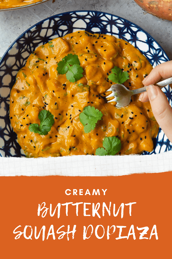 graphic text CREAMY BUTTERNUT SQUASH & CHICKPEA DOPIAZA QUICK RECIPE STEP-BY-STEP GUIDE with overhead shot of the recipe in a blue bowl.
