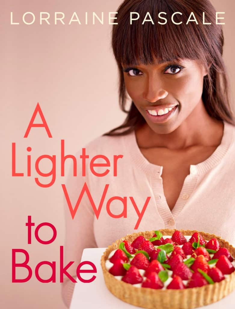Front angle shot of A Lighter Way to Bake by Lorraine Pascale book cover