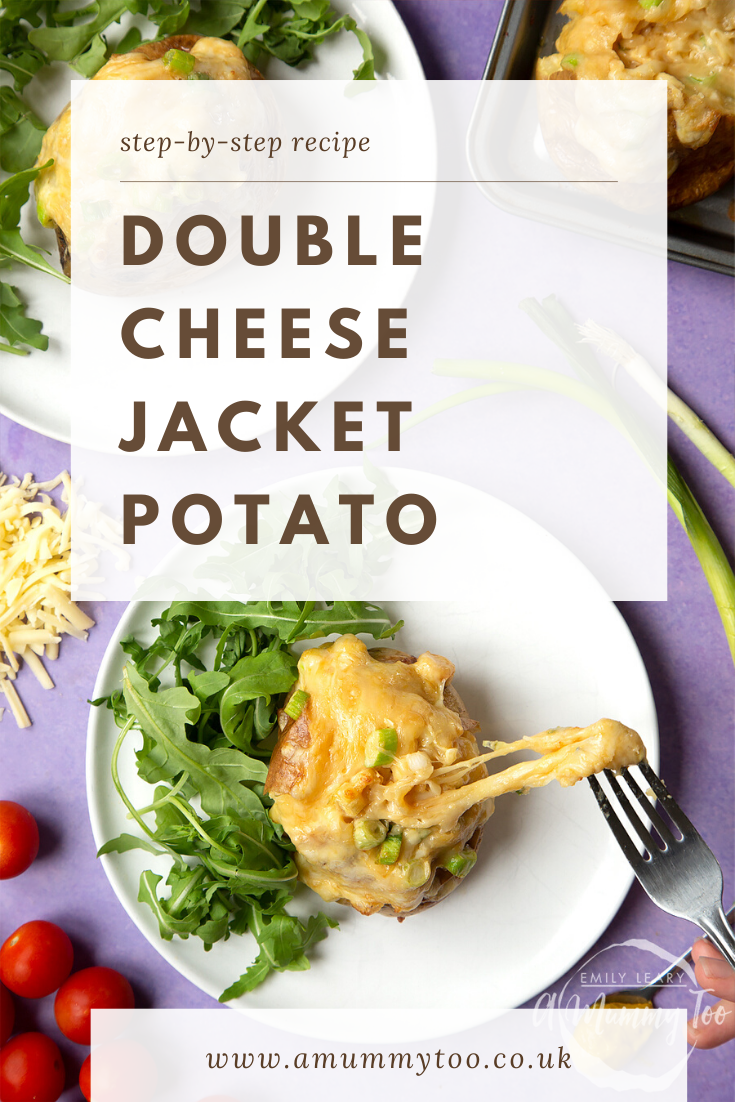 A cheese and onion jacket potato served on a white plate with rocket. Caption reads: step-by-step recipe double cheese jacket potato