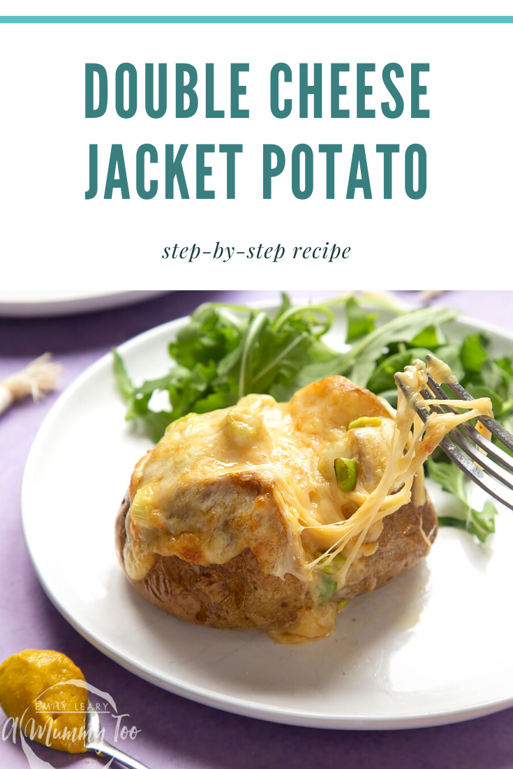 A cheese and onion jacket potato served on a white plate with rocket. Caption reads: double cheese jacket potato step-by-step recipe