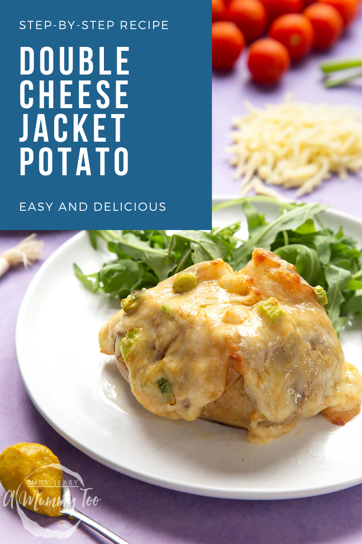 A cheese and onion jacket potato served on a white plate with rocket. Caption reads: step-by-step recipe double cheese jacket potato easy and delicious