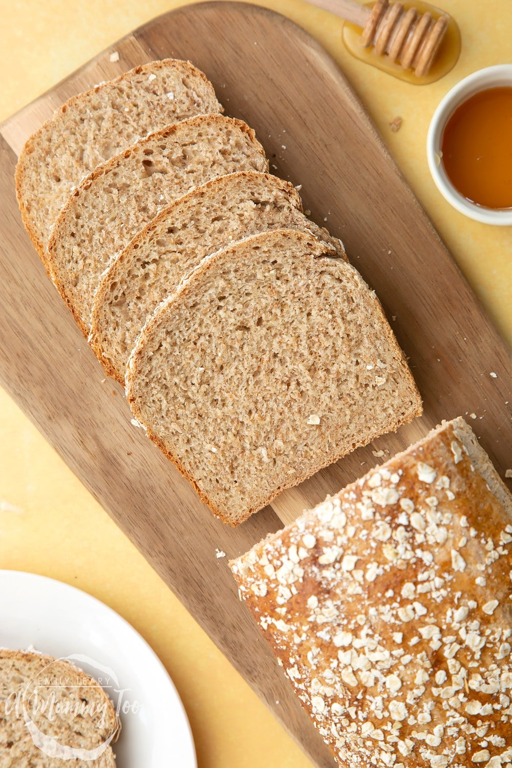 close-up shot of sliced honey and oat bread