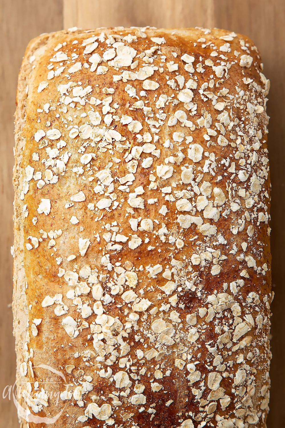 Baked light honey and oat bread in a loaf tin