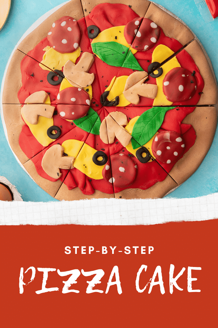 Pizza cake. A Victoria sponge decorated with sugar paste to look like a pizza. The cake is cut into slices. Caption reads: step-by-step pizza cake