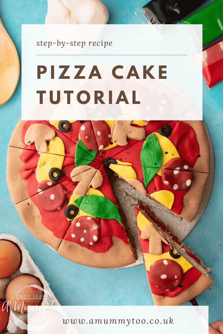 Pizza cake. A Victoria sponge decorated with sugar paste to look like a pizza. A slice is being taken. Caption reads: step-by-step recipe pizza cake tutorial