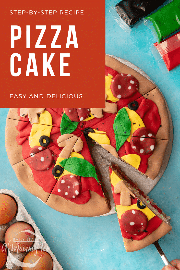 Pizza cake. A Victoria sponge decorated with sugar paste to look like a pizza. The cake is cut into slices. Caption reads: step-by-step recipe pizza cake easy and delicious