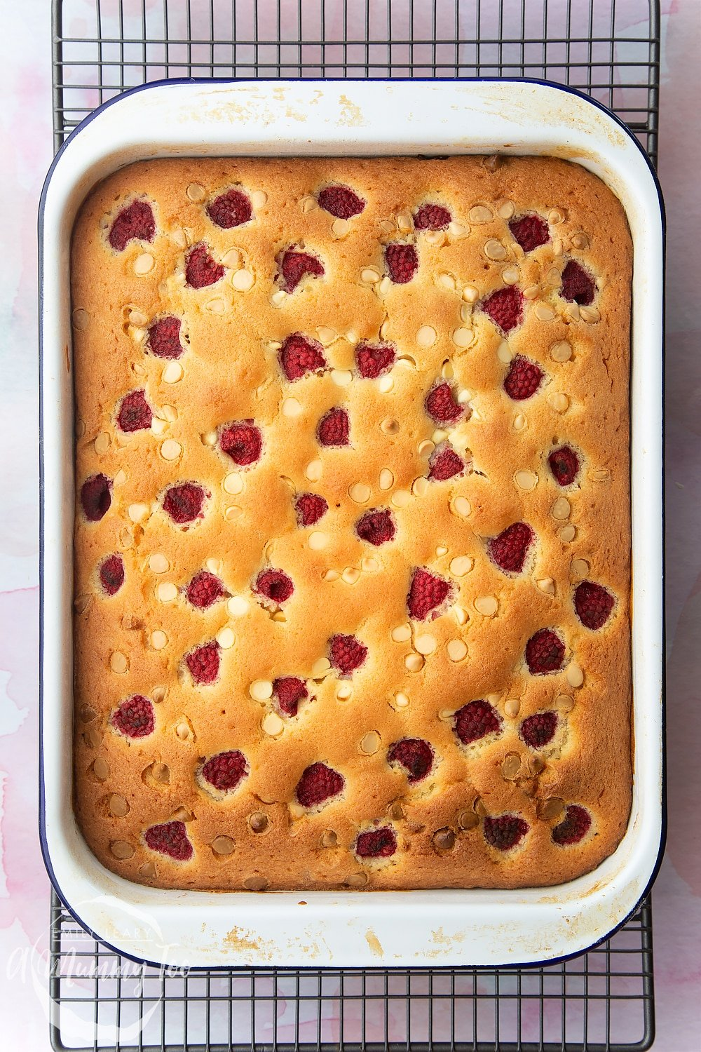 The raspberry and white chocolate traybake once baked in the oven.