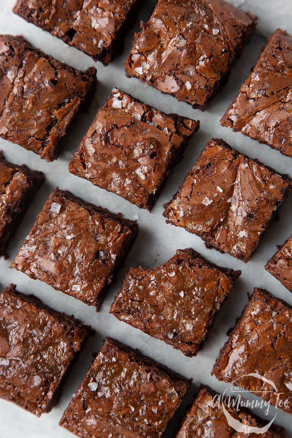 Slices of gooey salted caramel brownies