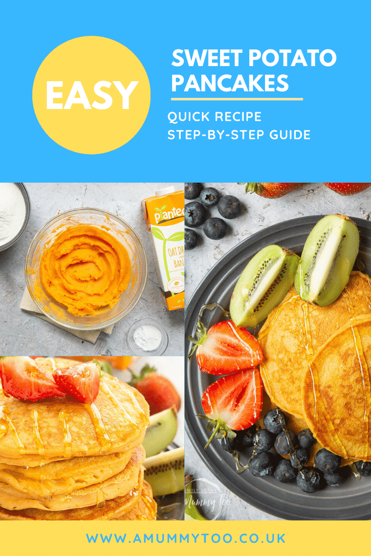 Three process images of sweet potato pancakes with some text at the top describing the image for Pinterest.