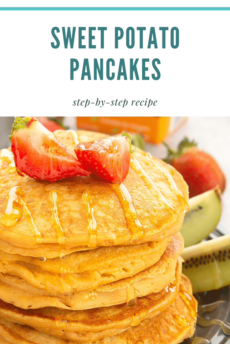 Close up side shot of a stack of sweet potoato pancakes topped with chopped strawberries. At the side the plate has some fruit. At the top of the image there's some text describing the image for Pinterest.