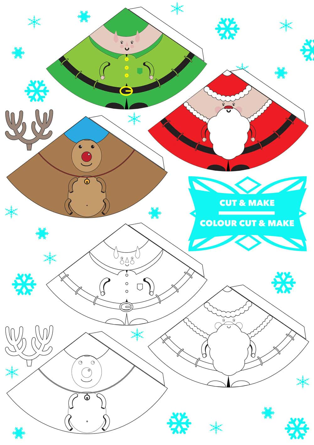 Free Printable 3d Christmas Characters Finger Puppets Tree Decorations How Will You Use Yours A Mummy Too