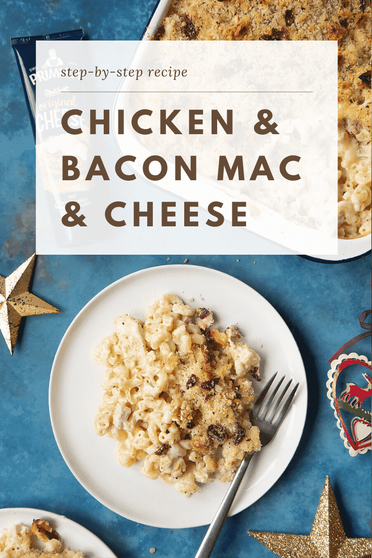 A portion of chicken and bacon mac and cheese served on a small white plate with a fork. A tray containing more of the pasta is shown to one side. Caption reads: step-by-step recipe chicken & bacon mac & cheese