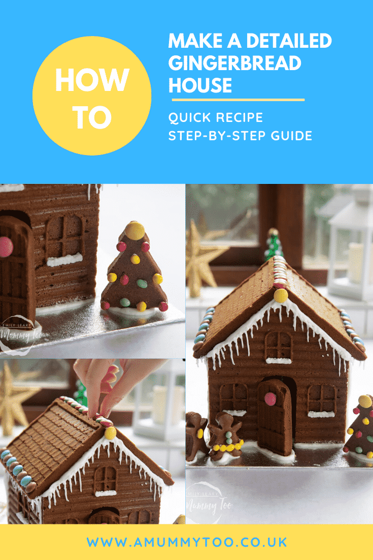 graphic text HOW TO MAKE A DETAILED GINGERBREAD HOUSE QUICK RECIPE STEP-BY-STEP GUIDE above collage of three photos of super-detailed gingerbread house  with website URL below
