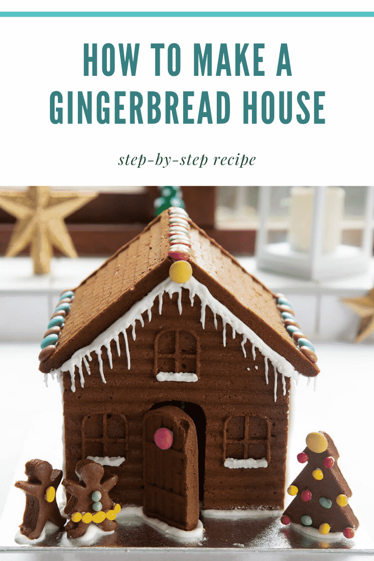 graphic text STEP-BY-STEP GUIDE DETAILED GINGERBREAD HOUSE EASY AND DELICIOUS above side angle shot of super-detailed gingerbread house