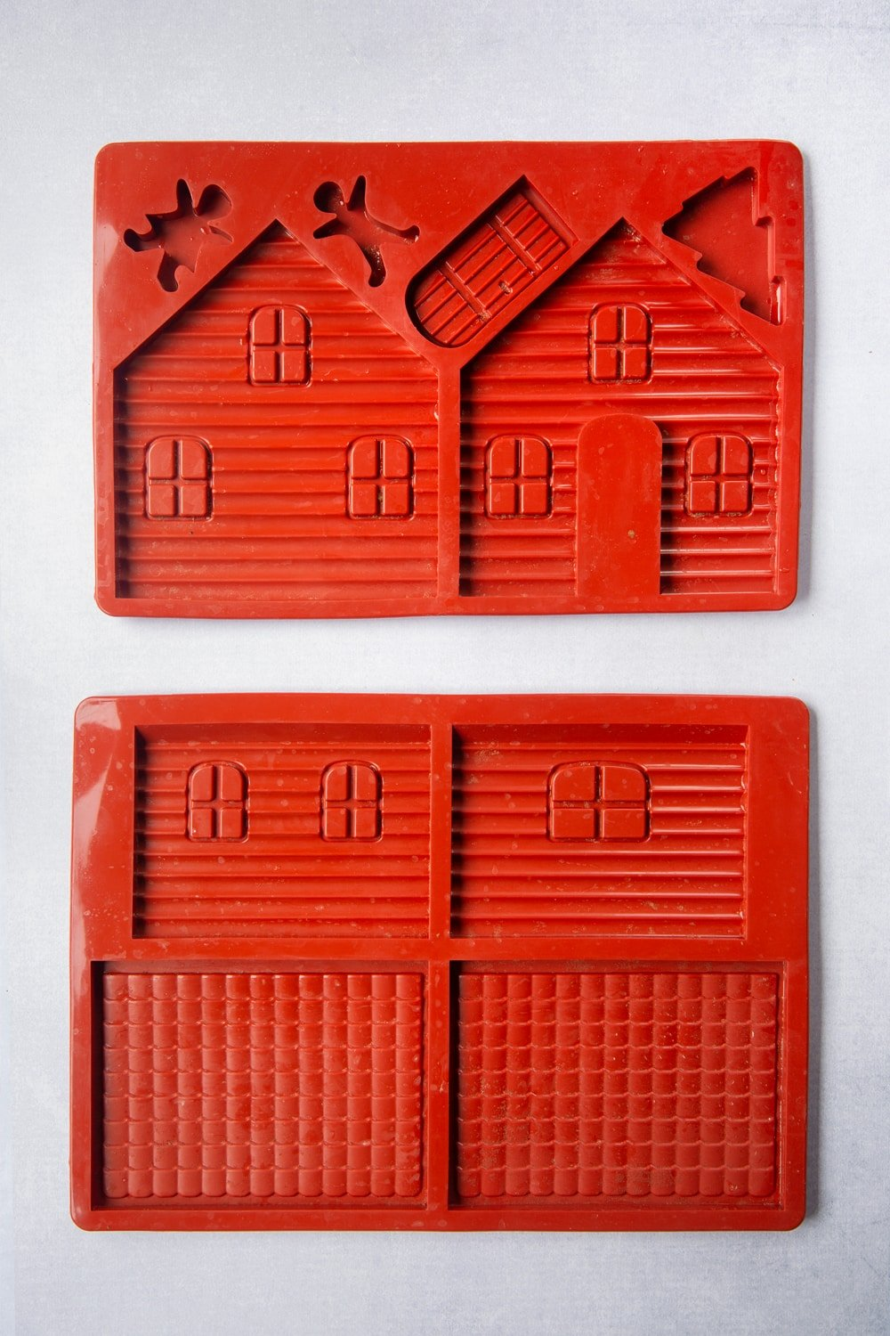 A silicone mould designed to make the pieces to construct a gingerbread house.