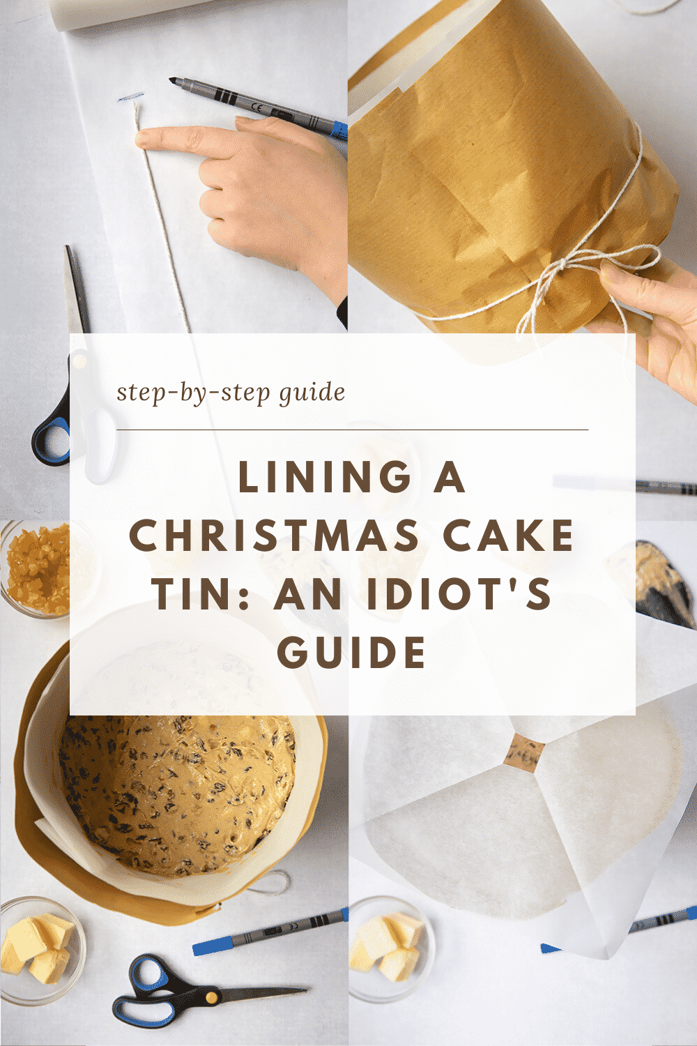 A series of images of tins, brown paper and string illustrate an idiot's guide to lining a Christmas cake tin.