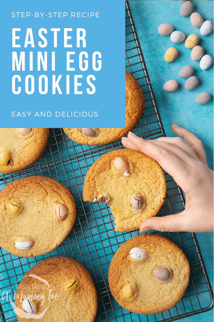 graphic text step-by-step recipe EASTER MINI EGG COOKIES above Overhead shot of a hand holding a broken chewy easter cookie with a mummy too logo in the lower-left corner