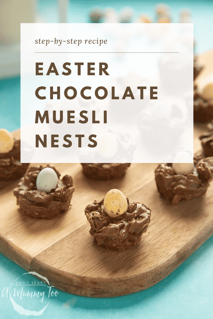 graphic text EASTER CHOCOLATE MUESLI NESTS above Front angle shot of a hand holding a fruity muesli nest