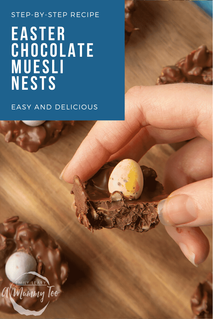 graphic text EASTER CHOCOLATE MUESLI NESTS step-by-step recipe above Front angle shot of chocolate Easter muesli nests