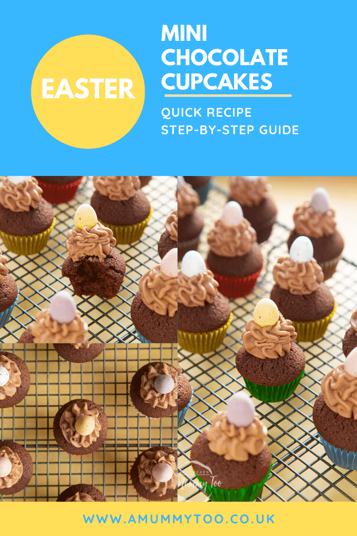 Graphic text with EASTER MINI CHOCOLATE CUPCAKES QUICK RECIPE STEP-BY-STEP GUIDE above a collage of chocolate muffins above website URL