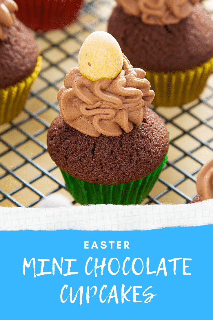 front angle shot of a mini chocolate muffin easter topped with chocolate frosting and mini chocolate egg served on a baking rack with Graphic text EASTER MINI CHOCOLATE CUPCAKES below