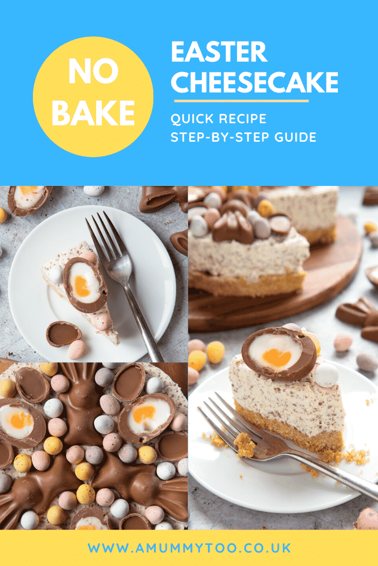 A collage of images showing no-bake Easter cheesecake. The cheesecake is decorated with Easter chocolate and served on a white plate. The caption reads: No bake Easter cheesecake. Quick recipe. Step-by-step guide.