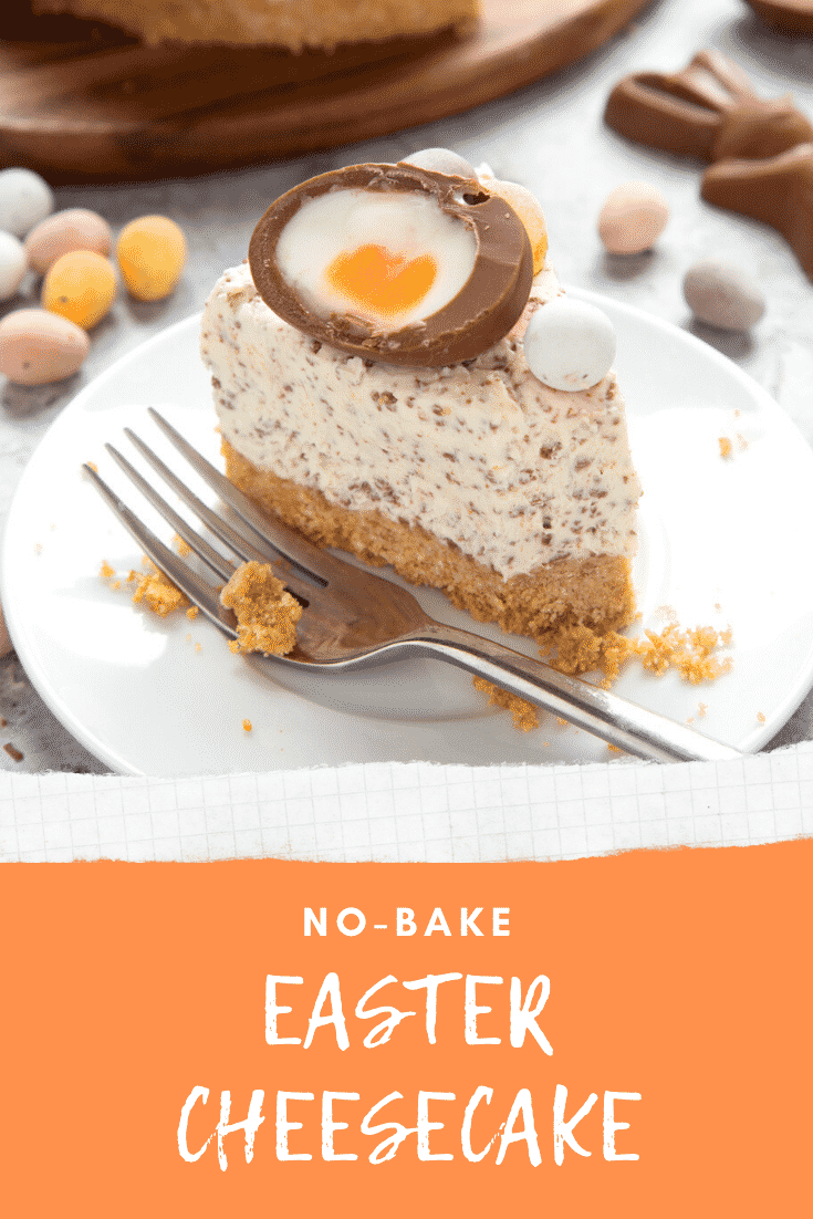 No-bake Easter cheesecake. The cheesecake is decorated with Easter chocolate and served on a white plate. The caption reads: No bake Easter cheesecake.