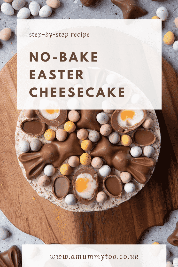 No-bake Easter cheesecake. The cheesecake is decorated with Easter chocolate and served on a white plate. The caption reads: Step-by-step recipe. No bake Easter cheesecake.